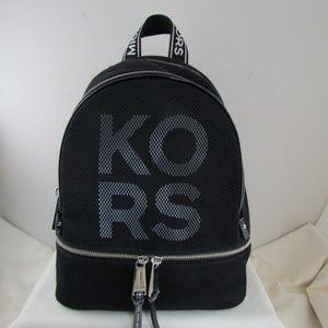 Michael Kors Blk/OpticWhite Rhea Zip MD Backpack